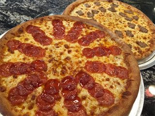 Pizza with pepperoni and cheese