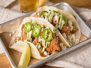 Tacos with Fried Chicken and Jalapeno