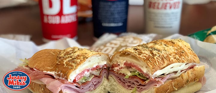 Jersey Mikes Sandwich with ham,cheese,tomato,lettuce