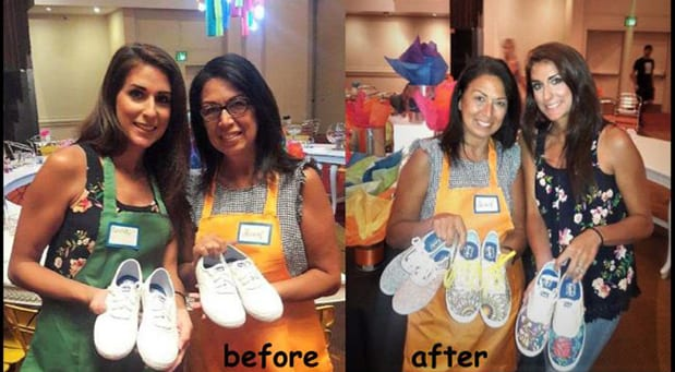 Two Women holding sneakers before and after hand painting them