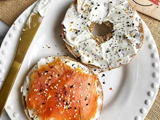 Bagel with Cream and Salmon