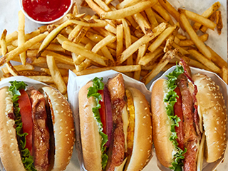 Chicken Sandwiches with Tomato, Lettuce and Bacon, Fries