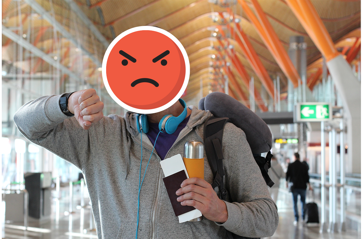 Man at the airport looking at his watch and holding passport with angry smiley face drawn on his face