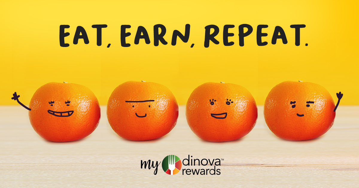 Eat, Earn, Repeat My Dinova Rewards Image With Four Oranges With Smiley Faces drawn