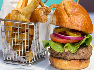 Burger with Pickles, Red Onion,Tomato and Lettuce and Fries