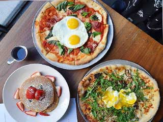 Pancakes with Strawberry, Pizza with Fried eggs, Pizza with Arugula