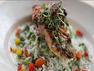 Grilled Atlantic Salmon served with Rice Pilaf