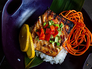 Grilled Salmon and Rice