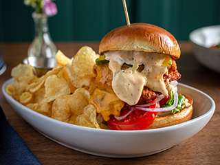 Crispy Cheddar Buttermilk Fried Chicken Sandwich