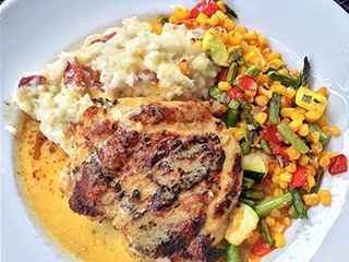 Smashed Potatoes, Roasted Chicken and Succotash