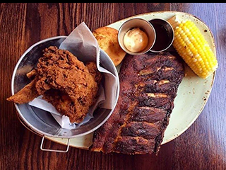Fried Chicken, Ribs and Corn