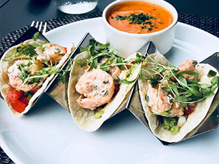 Shrimp Tacos and Red Pepper Curry Soup