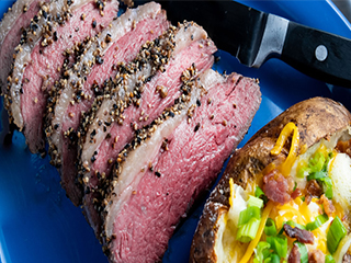 Hickory-smoked sliced pepper-crusted sirloin