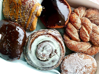 Chocolate Glazes Donuts, Bagels, Cinnamon Roll