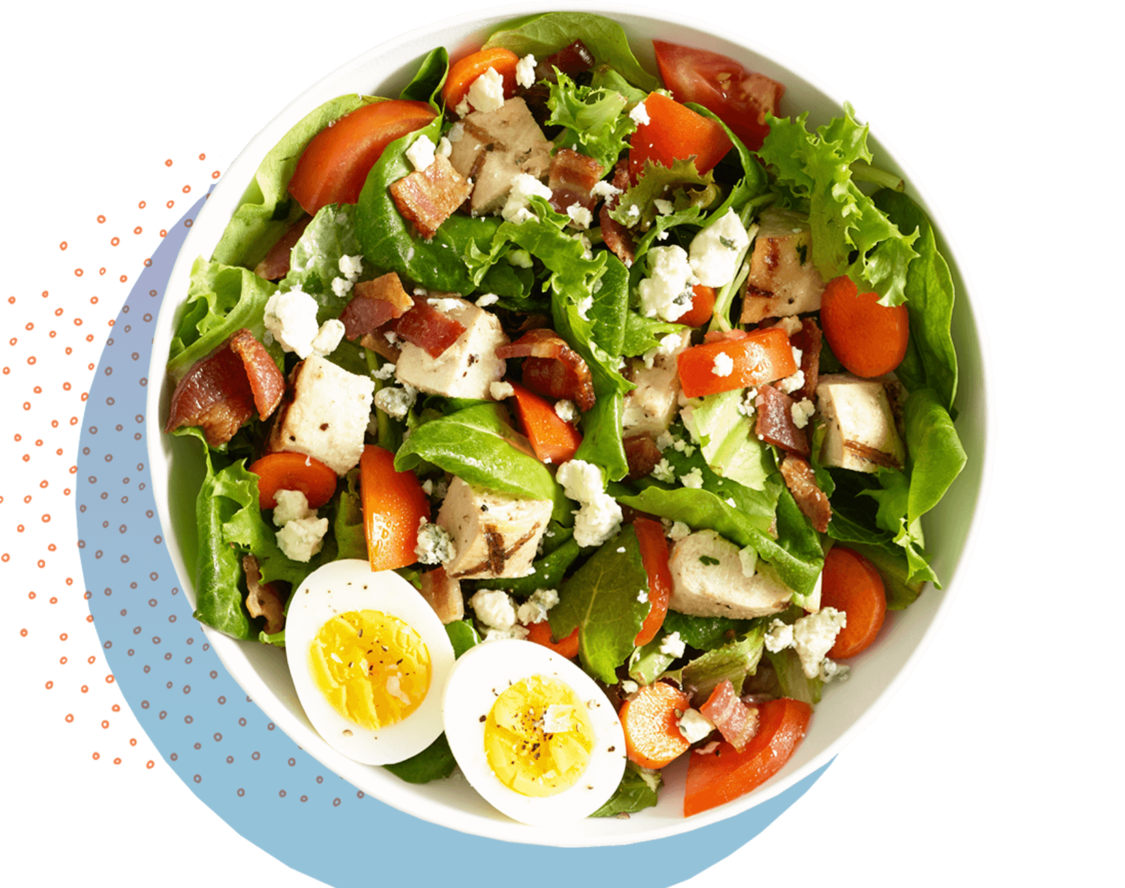 Salad with greens,tomato,cheese and boiled eggs