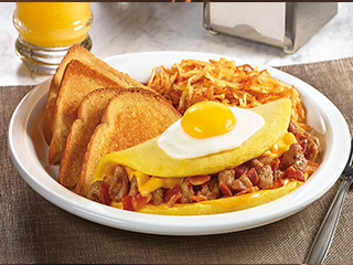 Sunny-Topped Omelette, and indulge in a three-egg omelette with crumbled sausage, bacon and American cheese, topped with an egg
