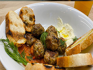 Meatballs and baguette