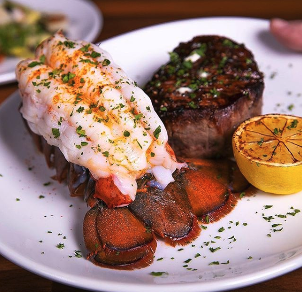 Aged prime beef and classics such as lobster tails and pork chops.