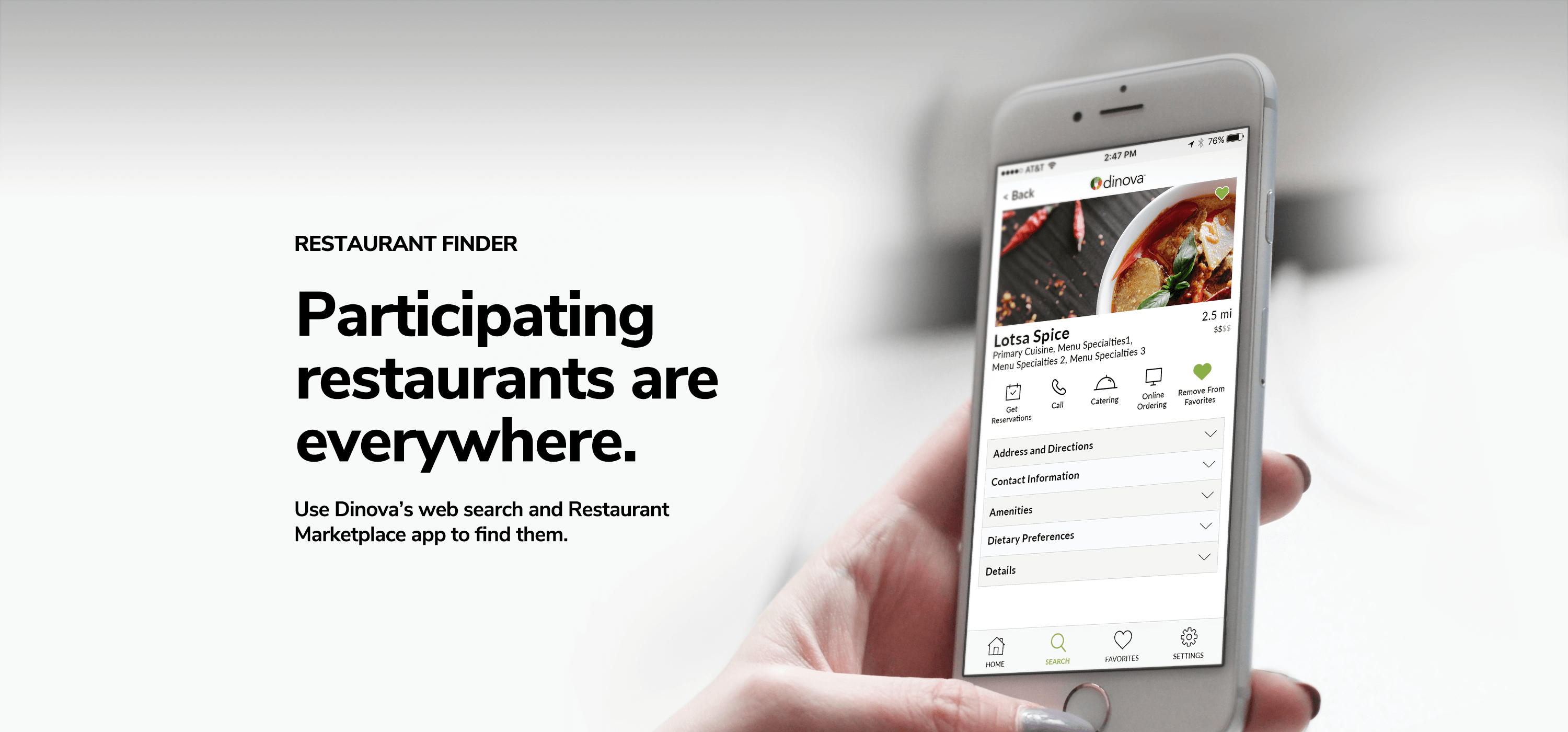 Restaurant Finder option on Dinova application