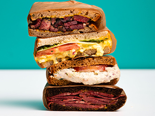 Pastrami and corned beef sandwiches