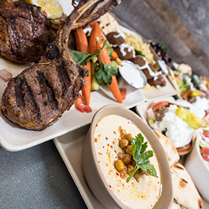 Grilled Lamb Chop and Hummus
