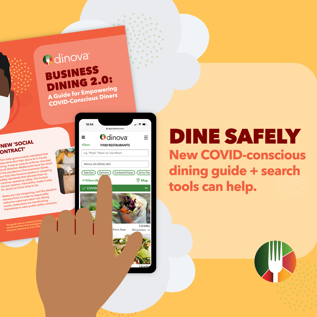 drawing of safe dining guide and dinova mobile app