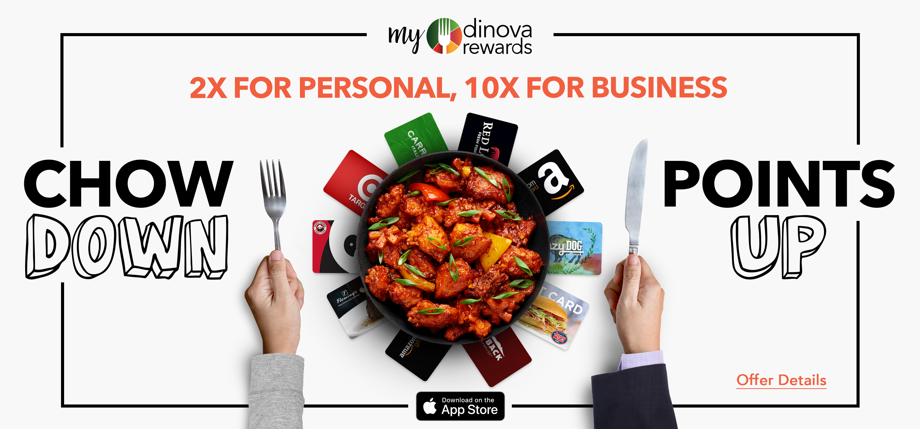 myDinova bonus points offers, 2x personal, 10x business