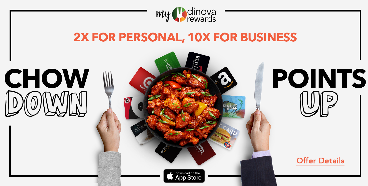 myDinova offer banner 2x personal points and 10x business dining points, sized 1500 by 760 pixels