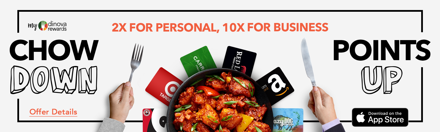 myDinova offer banner 2x personal points and 10x business dining points, sized 1800 by 540 pixels