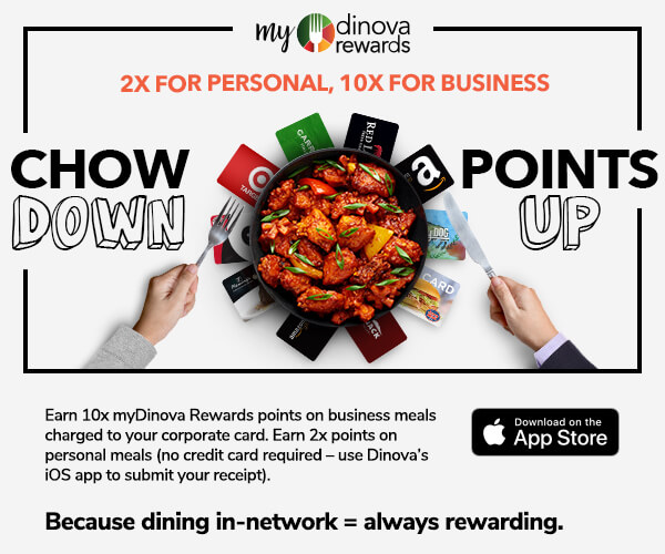 myDinova Chow Down Points Up email block 2x personal points and 10x business dining points, sized 600 by 500 pixels