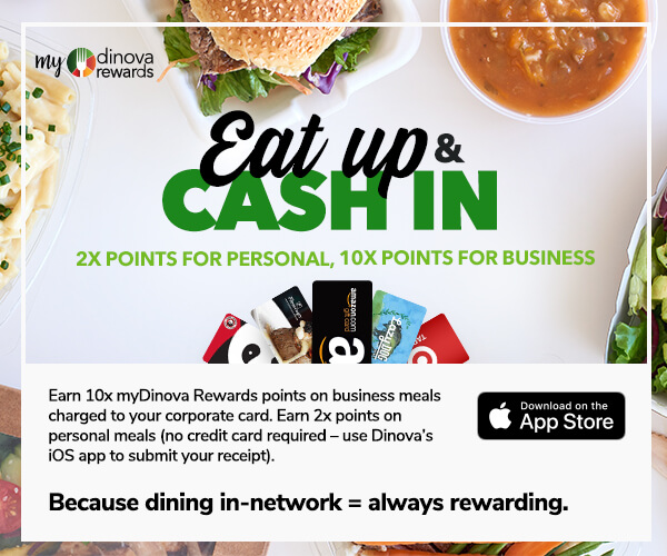 myDinova Eat Up Cash In email block 2x personal points and 10x business dining points, sized 600 by 500 pixels