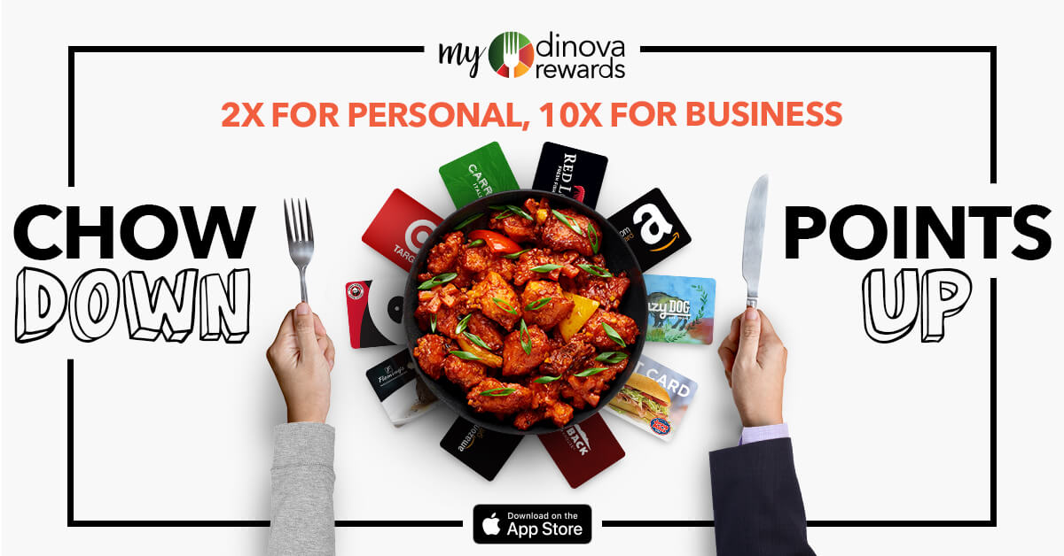myDinova Chow Down Points Up social banner 2x personal points and 10x business dining points, sized 1200 by 628 pixels