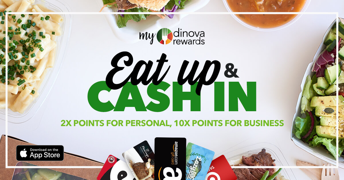 myDinova Eat Up Cash In social banner 2x personal points and 10x business dining points, sized 1200 by 628 pixels