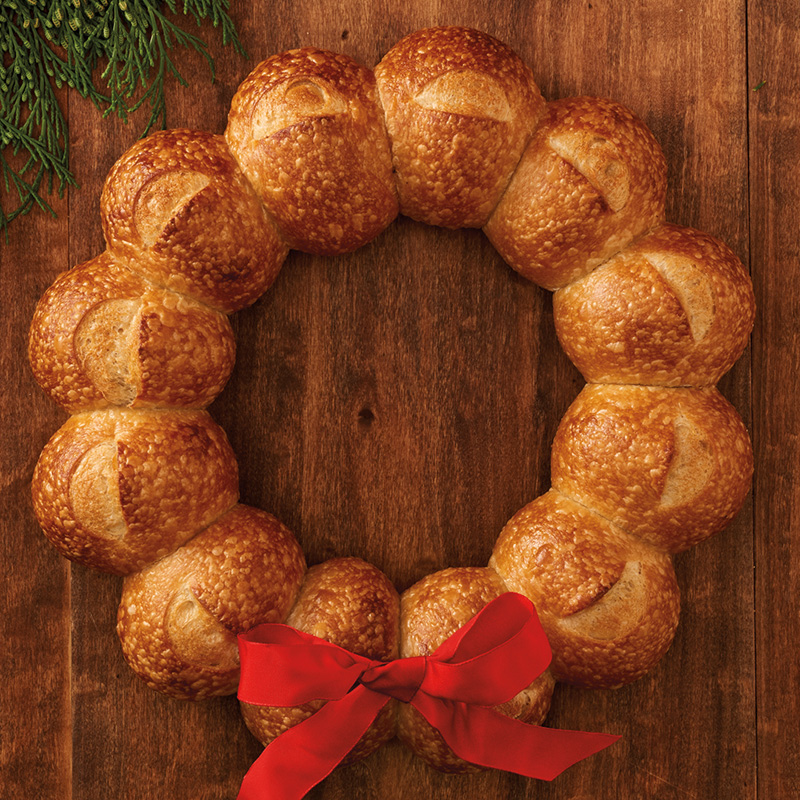 Holiday Wreath made of sourdough bread from Boudin Bakery
