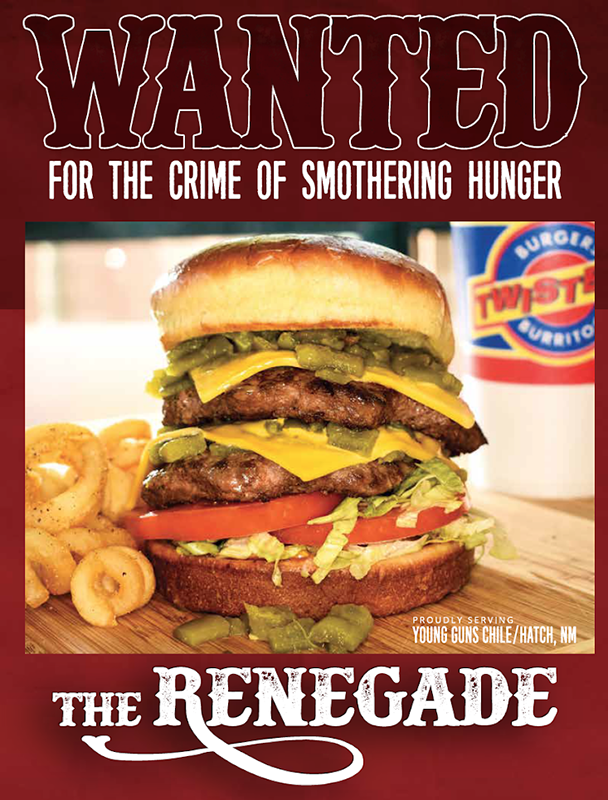 Twisters Burgers and Burritos new Renegade double green chile cheeseburger promo