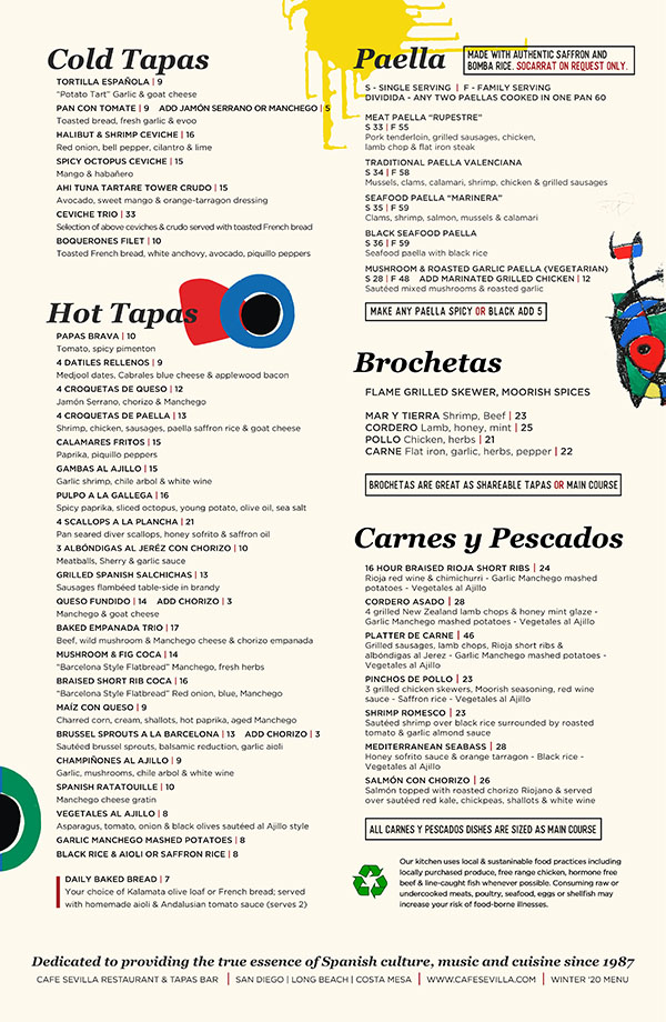 Cafe Sevilla Dinner Menu back
