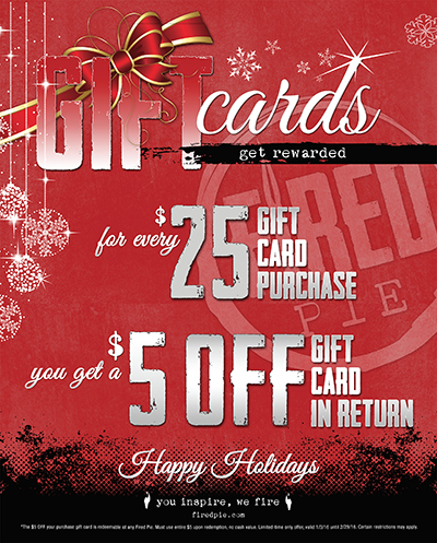 Fired Pie holiday gift card promo