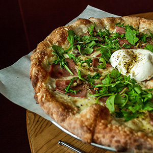 Uncle Angelo's family recipe pizza from Pietro's Pizzeria Bierria