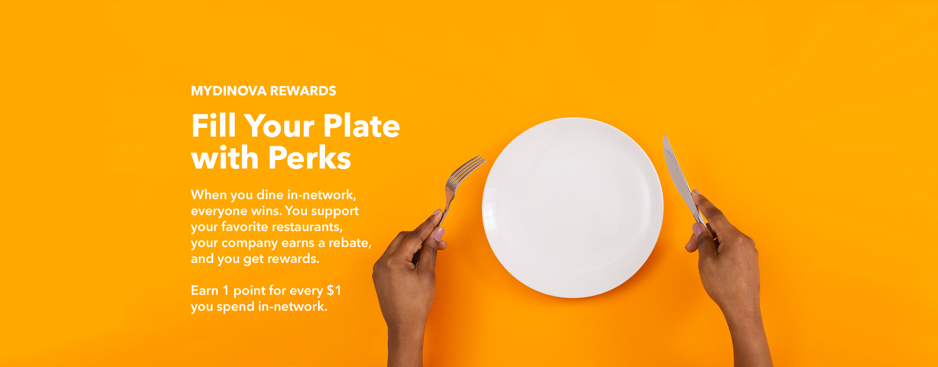 empty plate with diner hands holding fork and knife, ready for rewards